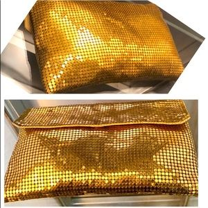 VTG Whiting & Davis Gold Chainmail 70's Clutch Bag